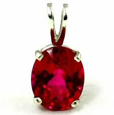 925 Sterling Silver Pendant, Created Ruby, SP002