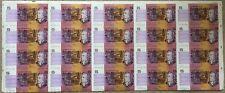 1990 $5 NPA UNCUT HALF SHEET of 20 PAPER DECIMAL NOTES EXCELLENT CONDITION SHEET
