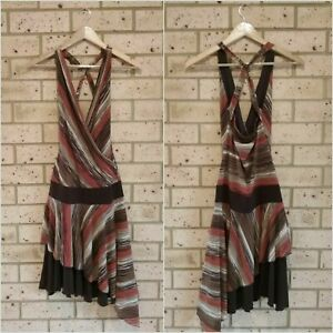 Brown Orange Asymmetrical Dress, Crossover Front, Strappy Back, Lined, Ladies 8
