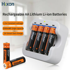 AA 1.5V 3500mWh Lithium Rechargeable Batteries Li-ion charger Lot Hixon constant