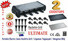 BOS & SARINO Table Bench Top Swiss Gourmet Raclette Grill Teppanyaki BBQ 8Person