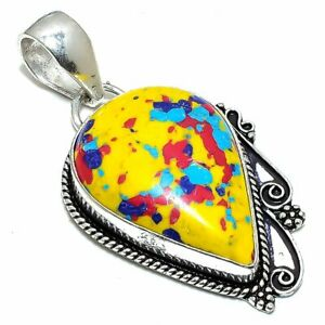 "Mosaic Balloon Turquoise Gemstone Ethnic Silver Jewelry Pendant 2.0"" PSL242"
