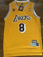 Kobe Bryant #8 Gold Los Angeles Lakers Swingman Jersey Size 46 Large  - NWT