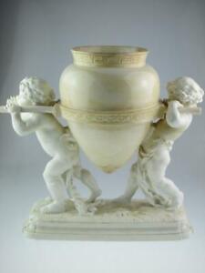 Large 19th Century Minton Porcelain Cherubs Amphora Vase Centrepiece Circa 1874