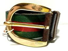 Gucci Vintage Web Belt Brass Buckle Size US 33 IT 90 Brown Leather Red Green Web