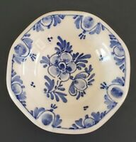 Delft Hand Painted Personal Ashtray Blue Floral Flowers 3 1/2""