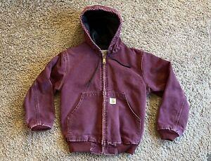 Vintage Youth Carhartt Zip Up Hooded Maroon Duck Canvas Jacket Size Children M 8
