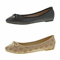 Damen Ballerinas Muster flach Sommer Schuhe Zierschleife Slipper Sandalen 36-42