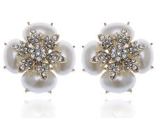 Chic Royal Golden Tone Faux Pearl White Rhinestone Accented Earrings Studs Gift