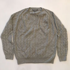 c662814ba Lacoste Cable Knit V Neck Sweater Grey 100% Wool Tonal Logo Mens Size M