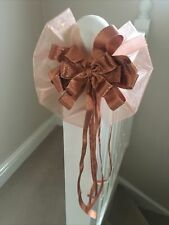 """Handmade 8"""" Large Bow Christmas Tree Topper Large Metallic Copper Bow Christmas"""
