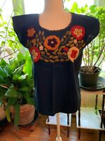 Blue Maya Mexican Blouse Top Shirt Flowers Chiapas M N25