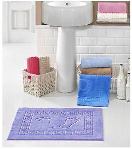 Bath Mat, 100%Microfibre Thin, Soft, Feet & Greek Design, Made in Turkey
