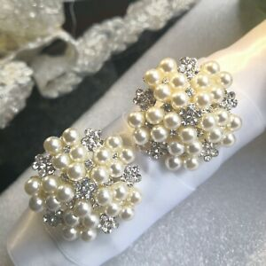 Diamante Brooch With Pearl, ( Grey, Ivory )  40mm Dia