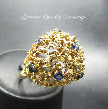 Large 9ct Gold Brutalist Sapphire Dome Ring Size P 10.5g