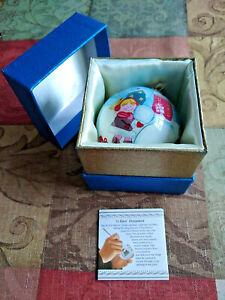 New Pier1 Christmas Ornament 2015 - Li Bien Glass Snowman & Kids - Hand Painted!