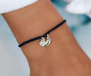 Pura Vida Save the Sloths Charm Black Gold Charity Bracelet Sloth