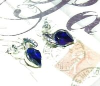 EXQUISITE SAPPHIRE AND CRYSTAL HEART-SHAPED DESIGNER STUD EARRINGS 3/4 INCH