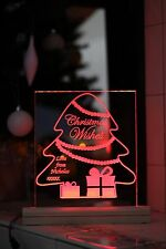Personalised engraved Christmas plaque Led light. Christmas wishes idea present