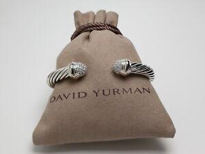 David Yurman 7mm Cable Bracelet Pave Diamond End Tips with 18k White Gold size M