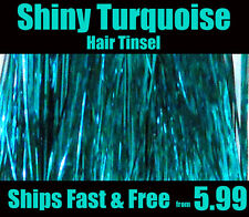 HAIR TINSEL, Hair extensions Shiny Turquoise 100 Strands Salon Grade SILK