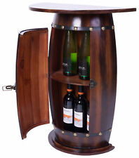 New Vintiquewise Rustic Lockable Barrel Shaped Wine Bar Cabinet Wooden End Table