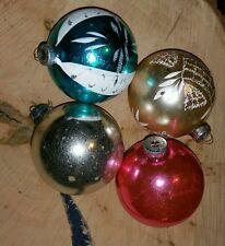 4 Vtg Lrg 3 In. Shiny Brite Glass Christmas Ornaments Glitter Stencil Pink Gold