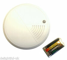 Mini Optical Smoke Detector Small Home Fire Safety Alarm - includes 9v battery