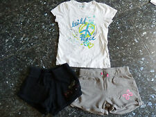 Lot T-shirt OKAIDI blanc 2 shorts coton taille 10 ans fille