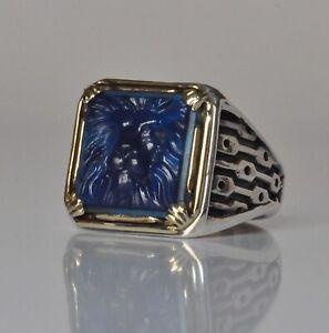 Konstantino Men's Blue Agate Lion Ring Sz 10 Sterling Silver Bronze Arc New