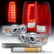 For 99-03 Sierra Halo Pro Headlights + LED Bumper + Red Clear LED Tail Lights