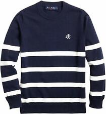 Brooks Brothers Boys Fleece Youth Navy with White Stripes Sweater, Sz L, 9863-1