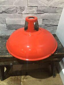 Original Vintage 1960's Red/white Enamel Pendant Light Lamp Shade Antique 28cm