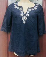 Linen J Crew Womens Size M Navy Blue Silver Tunic Shirt Top Embellished V-Neck