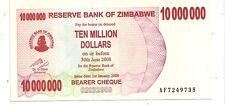 Zimbabwe 10 million dollars 2008 bearer cheque   FDS  UNC   pick 55   lotto 3610