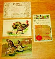 Antique Lot (4) Embossed Thanksgiving Post Cards 1908. 1910 Germany & U.S.A.