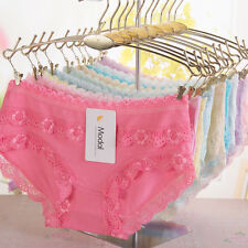 4 Pcs Packed Lace Edges Modal Girl Women Briefs Panties Underpants Underwear