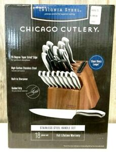 Chicago Cutlery 18-Piece Insignia Steel Knife Block Set - Silver