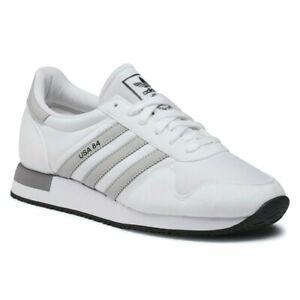 Scarpe Uomo Adidas USA 84 Sportive Casual Sneakers Bianche Pelle Tessuto New