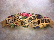LIVE WELL LOVE MUCH LAUGH OFTEN WALL PLAQUE DECOR KITCHEN FRUIT NEW APPLES
