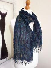 Samaya crinkle long  Scarf  Purple blue  Multicolored silk blend abstract design