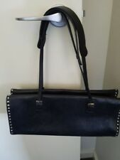 BALLY VINTAGE BLACK LEATHER HANDBAG WITH SILVER STUDS AND STRAPS -LIKE NEW