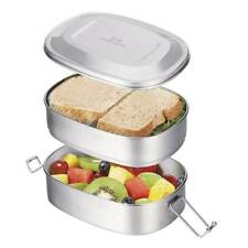 Stainless Steel Bento Lunch Box Large Metal 2Tier Food Container Snack Lunch Box