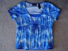 LIZ CLAIBORNE AXCESS Blue &Wh.Print Cotton Knit Baby Doll Blouse/Shirt-L / Large