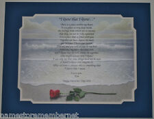 """PERSONALIZED""""I Know That I Know""""  Poem Valentine's Gift for HER on Rose On Beach"""