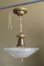 """Antique Pendant Light 12"""" Wide Frosted Etched Shade Glass Finial Patina 40C"""