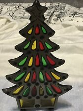 VINTAGE CAST IRON VOTIVE CANDLE HOLDER Stained Glass CHRISTMAS TREE Taiwan