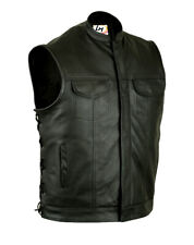 Sons of Anarchy Genuine Real Leather Biker Vest Waistcoat Side Laced Gun Pockets