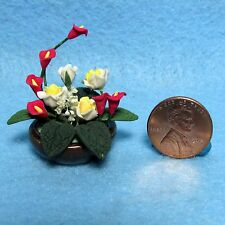 Dollhouse Miniature Centerpiece Table Top Floral Arrangement in Bowl ~ F2044A
