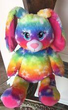 Build A Bear Rainbow Teddy Bunny Plush Tye Dye Flower Blue Green Stuffed Animal